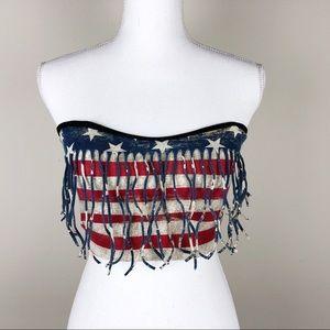 HOT TOPIC | Americana Stars Stripes Fringe Tube M